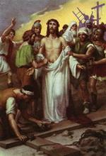 кати здіймають одіж з Ісуса Христа